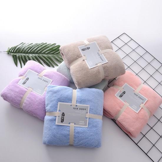 Fashion monochrome home coral velvet bath towel boiler water absorbent bath towel soft comfortable coral velvet bath towel
