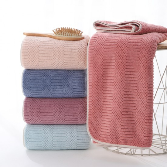 Polyester and nylon warp-knitted coral fleece towel plain bath towel absorbent soft edging towel gift set logo customization