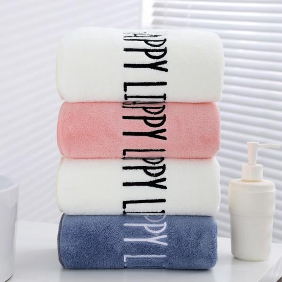 High density coral velvet bath towel wholesale embroidered fleece fiber towel towel set